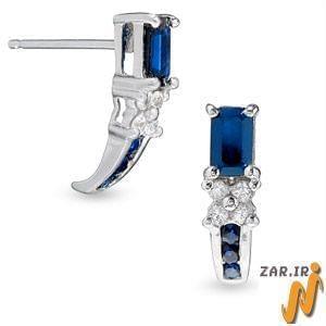گوشواره طلا سفید با  الماس تراش برلیان و یاقوت کبود مدل : EDF1020