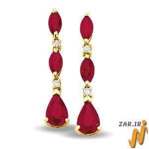 گوشواره طلا زرد با نگین یاقوت سرخ و الماس مدل : EDF1026