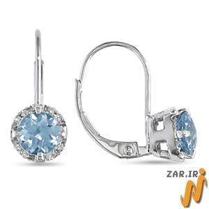 گوشواره طلا سفید با نگین توپاز و الماس مدل: EDF1028