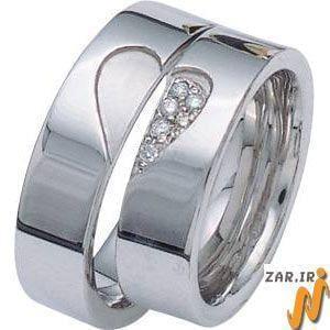 ست حلقه طلا سفید با نگین الماس تراش برلیان طرح پازل قلب مدل: srd1037