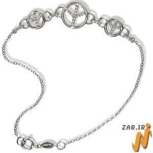 پابند طلا سفید با نگین الماس مدل : adf1010