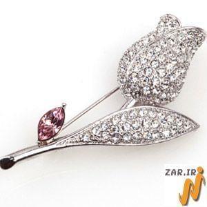 سنجاق سینه طلای سفید با نگین الماس مدل: bdf1003