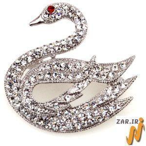 سنجاق سینه طلای سفید با نگین الماس مدل: bdf1012