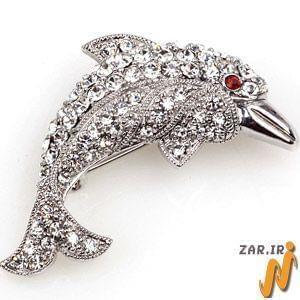 سنجاق سینه طلای سفید با نگین الماس مدل: bdf1040