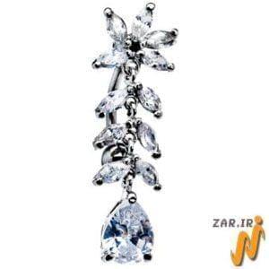 آویز ناف طلا سفید با نگین الماس مدل: cgf1011