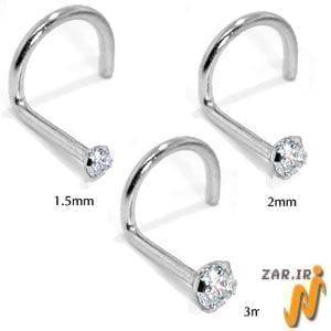 آویز بینی طلا سفید با نگین الماس مدل: ngf1031