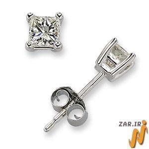 گوشواره طلا سفید با نگین الماس مدل :edf1033