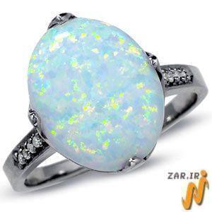 انگشتر طلا سفید با نگین اپال و الماس تراش برلیان مدل:rsf1041