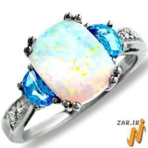 انگشتر طلا سفید با نگین اپال، توپاز و الماس تراش برلیان مدل:rsf1061