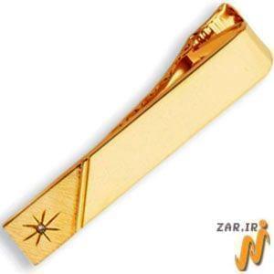 گیره کروات طلا زرد با نگین برلیان مدل :cgm1041