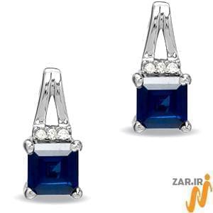 گوشواره طلا سفید با نگین یاقوت کبود و الماس مدل : EDF1013