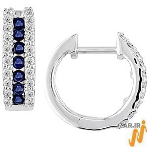 گوشواره طلا سفید با نگین یاقوت کبود و الماس تراش برلیان مدل : EDF1015