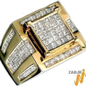 انگشتر مردانه طلا زرد با نگین الماس: مدل rgm1001