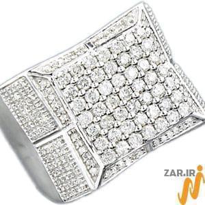 انگشتر مردانه طلا سفید با نگین الماس: مدل rgm1002