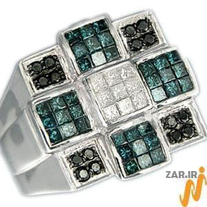 انگشتر مردانه زمرد و الماس با طلای سفید: مدل rgm1004