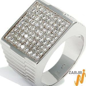 انگشتر طلا سفید با نگین الماس: مدل rgm1006