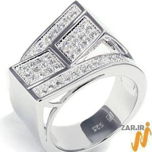 انگشتر طلا سفید مردانه با نگین الماس: مدل rgm1009