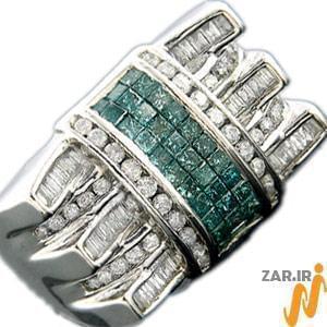 انگشتر طلا سفید مردانه با نگین الماس و زمرد: مدل rgm1010