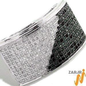 انگشتر طلا سفید با نگین الماس: مدل rgm1011