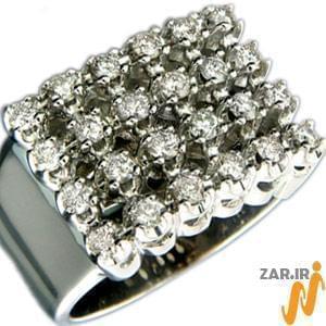 انگشتر طلا سفید با نگین الماس: مدل rgm1012