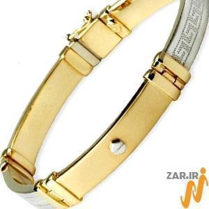 خرید+دستبند+مردانه+چرم+و+طلا