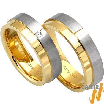 ست حلقه ازدواج طلا سفید و زرد با نگین الماس مدل: srd1051