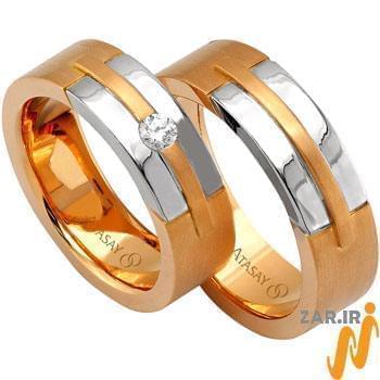 ست حلقه عروسی طلا سفید و رزگلد با نگین الماس تراش برلیان مدل: srd1052