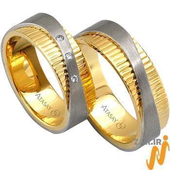 ست حلقه عروسی طلا سفید و زرد با نگین الماس مدل: srd1053
