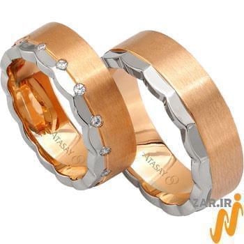 ست حلقه عروسی طلا سفید و رزگلد با نگین الماس مدل: srd1054