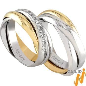 ست حلقه عروسی طلا سفید و زرد با نگین الماس مدل: srd1055