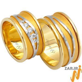 ست حلقه ازدواج طلا سفید و زرد با نگین الماس تراش برلیان مدل: srd1057