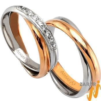 ست حلقه عروسی طلا سفید و زرد با نگین الماس مدل: srd1058