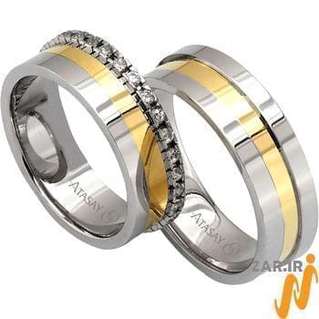 ست حلقه عروسی طلا سفید و زرد با نگین الماس تراش برلیان مدل: srd1059