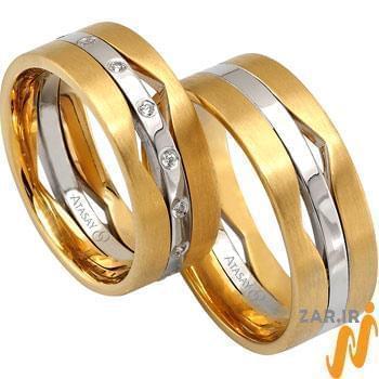 ست حلقه عروسی طلا سفید و زرد با نگین الماس تراش برلیان مدل: srd1061