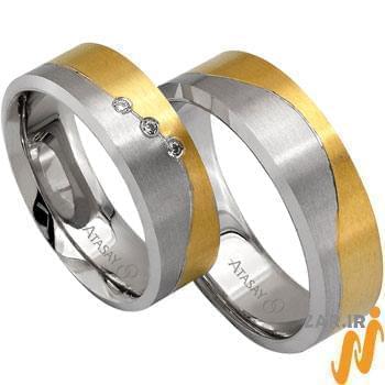 ست حلقه عروسی طلا سفید و زرد با نگین الماس مدل: srd1063