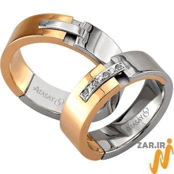 ست حلقه عروسی طلا سفید و رزگلد با نگین الماس تراش برلیان مدل: srd1064