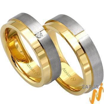 ست حلقه عروسی طلا سفید و زرد با نگین الماس تراش برلیان مدل: srd1065