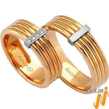 ست حلقه عروسی طلای رز گلد با نگین الماس تراش برلیان مدل: srd1068