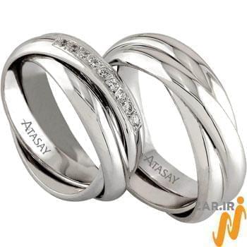 ست حلقه ازدواج طلا سفید با نگین الماس تراش برلیان مدل: srd1073