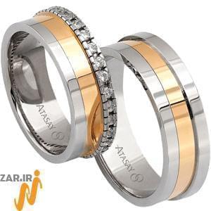 ست حلقه عروسی طلا سفید و زرد با نگین الماس مدل: srde1056