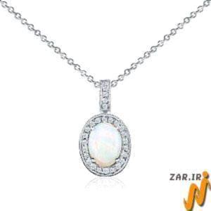 آویز طلای سفید با نگین اپال و الماس مدل: Prf1009