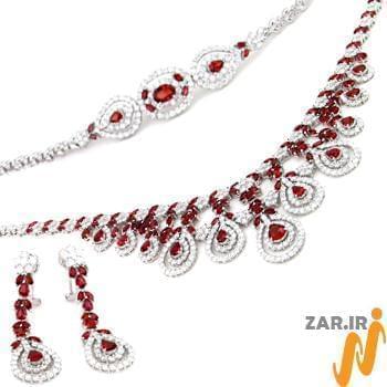 سرویس جواهر طلا سفید با نگین یاقوت قرمز و الماس تراش برلیان