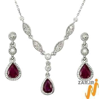سرویس جواهر با نگین یاقوت و الماس تراش برلیان مدل: hsdf1057