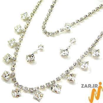 سرویس جواهر با نگین الماس تراش پرنس مدل:hsdf1128