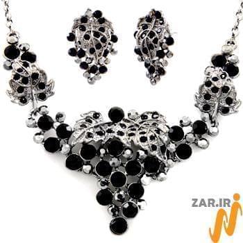 سرویس جواهر با نگین الماس تراش برلیان مشکی طرح خوشه مدل: hsdf1138