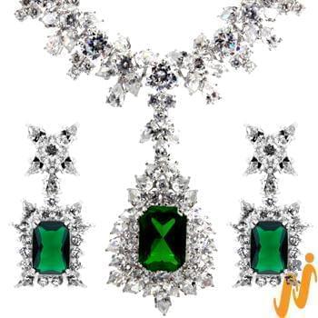 سرویس جواهر با نگین زمرد و الماس تراش برلیان و مارکیز مدل: hsdf1139