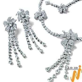 سرویس جواهر با نگین الماس تراش برلیان طرح گل (flower) مدل: sdf1081