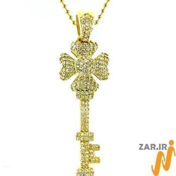 آویز مردانه جواهر با نگین الماس تراش برلیان طرح کلید: مدل npdm1003