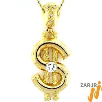 آویز مردانه جواهر با نگین الماس تراش برلیان طرح دلار : مدل npdm1004