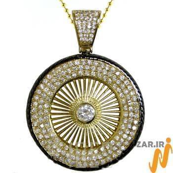 آویز مردانه جواهر با نگین الماس تراش برلیان طرح دوار : مدل npdm1006
